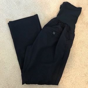 Navy pinstripe maternity pants